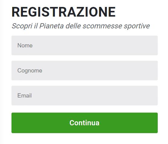 Registrati utilizzando il codice promo planetwin365